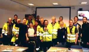Her en del av de ansatte ved basen i Dusavik.