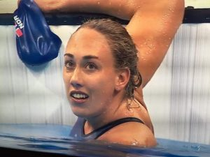 Sara Louise Rung har akkurat svømt inn til gull i Rio. FOTO: Skjermdump fra NRK